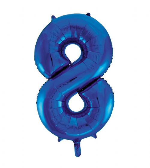 Number 8 Foil Balloon Blue - The Ultimate Party Shop