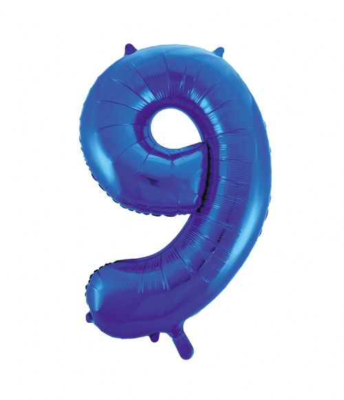 Number 9 Foil Balloon Blue