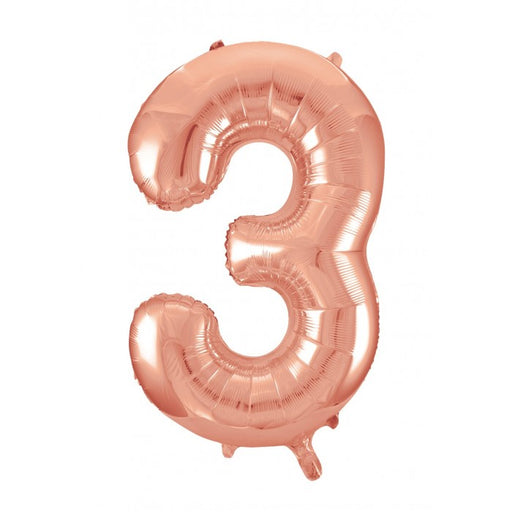 Number 3 Foil Balloon Rose Gold