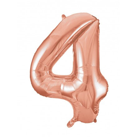 Number 4 Foil Balloon Rose Gold - The Ultimate Party Shop