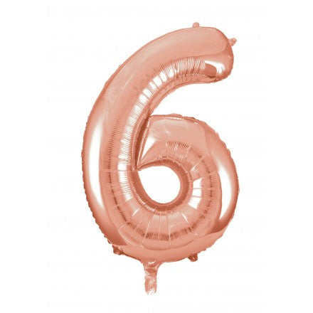 Number 6 Foil Balloon Rose Gold