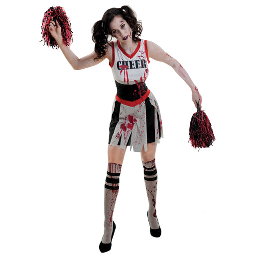 Zombie Cheerleader - White/Black - The Ultimate Party Shop