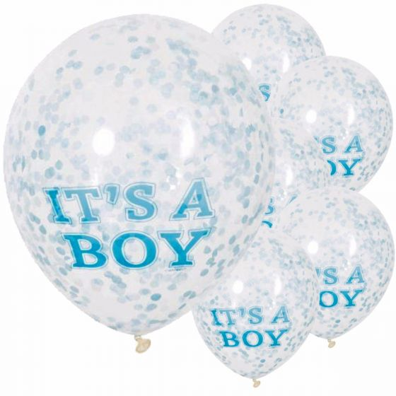 Confetti Balloons  Its a Boy with Blue Confetti