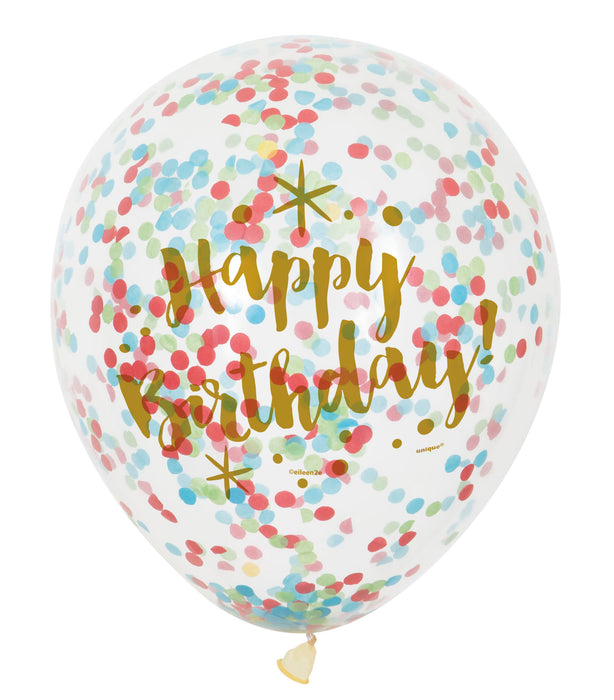 Confetti Balloons Gold Birthday with Multi Colour Confetti - The Ultimate Party Shop