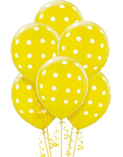 Yellow Spotty Balloons 6 Pack