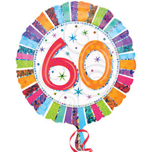 "18"" Foil Age 60 Rainbow Balloon"