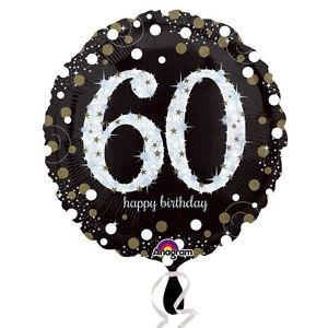 "18"" Foil Age 60 Black/Gold Dots Balloon"