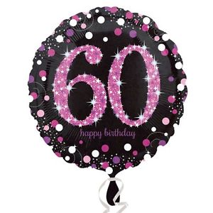 "18"" Foil Age 60 Black/Pink Dots Balloon"