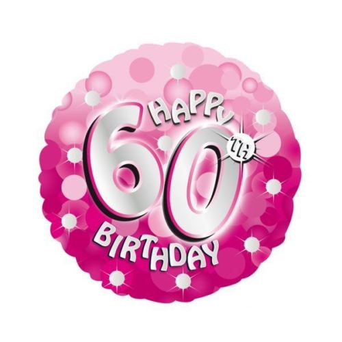 "18"" Foil Age 60 Pink Sparkle Balloon. - The Ultimate Party Shop"