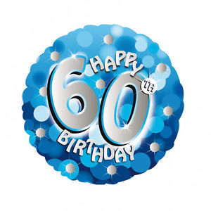"18"" Foil Age 60 Blue Sparkle Balloon. - The Ultimate Party Shop"