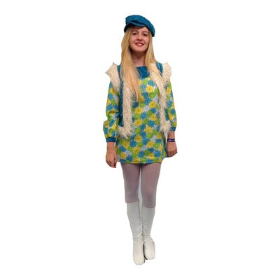 1960s Twiggy Dress Hire Costume - Green - The Ultimate Party Shop