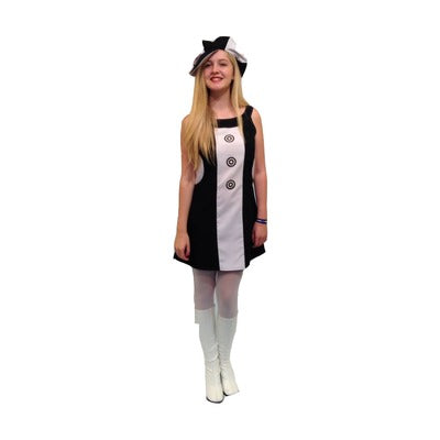 1960s/1970s Dress Hire Costume - Black & White Buttons - The Ultimate Party Shop