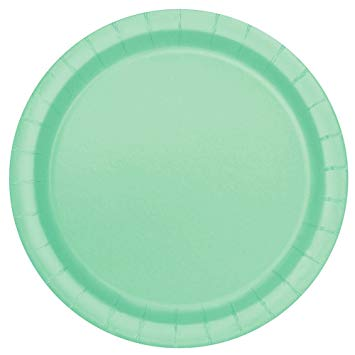 Round Paper Plates - Mint Green