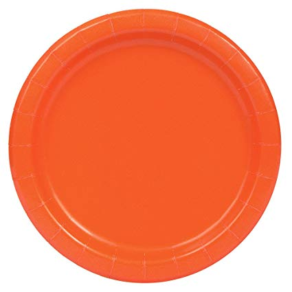 Round Paper Plates - Orange - The Ultimate Party Shop