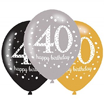 Age 40 Birthday Asst Colour Balloons 6 Pack