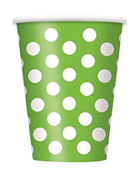 Spotty Paper Cups - Green - The Ultimate Party Shop