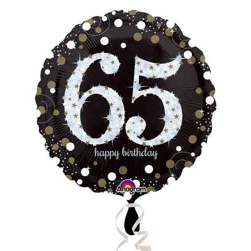 "18"" Foil Age 65 Black/Gold Dots Balloon - The Ultimate Party Shop"