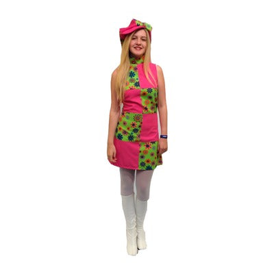 1960s/1970s Dress Hire Costume - Pink & Green Flowers - The Ultimate Balloon & Party Shop