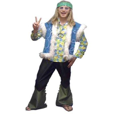 1960s/1970s Hippy Dude Hire Costume - Blue - The Ultimate Balloon & Party Shop
