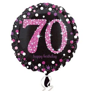 "18"" Foil Age 70 Black/Pink Dots Balloon"