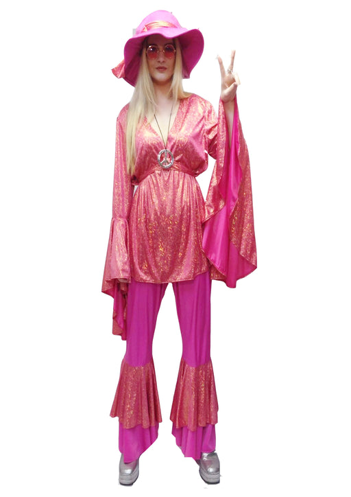 1970s Disco Lady Hire Costume - Pink (+Size)