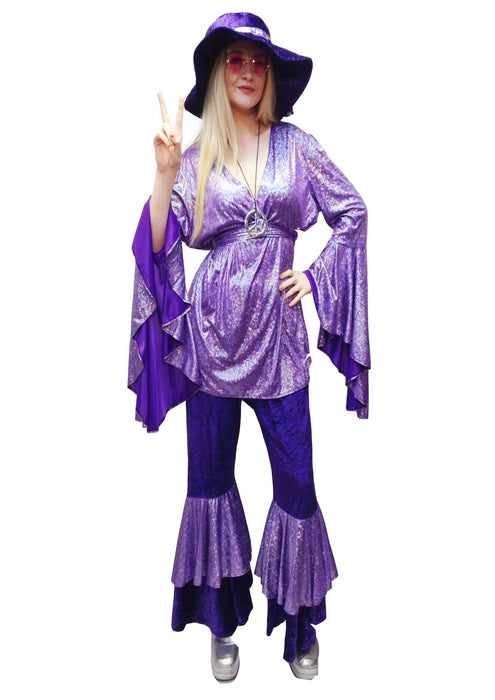 NEW 1970s Disco Lady Hire Costume - Purple (+size) - The Ultimate Balloon & Party Shop