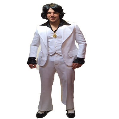 1970s White Suit Hire Costume - The Ultimate Balloon & Party Shop