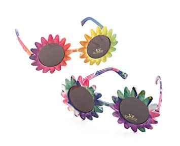 1960's Multicolored Flower Power Glasses - The Ultimate Party Shop