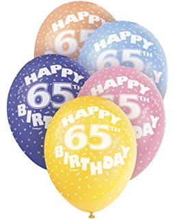 Age 65 Asst Birthday Balloons 5 Pack - The Ultimate Balloon & Party Shop
