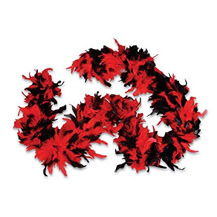 Feather Boa - Red & Black
