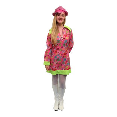 1960s/1970s Pink Flowered Dress with Green Collar Hire Costume - The Ultimate Party Shop