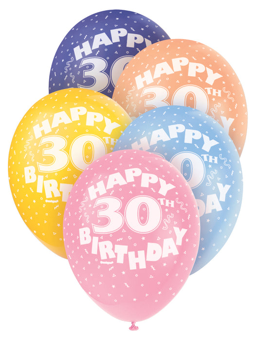 Age 30 Asst Birthday Balloons 5 Pack
