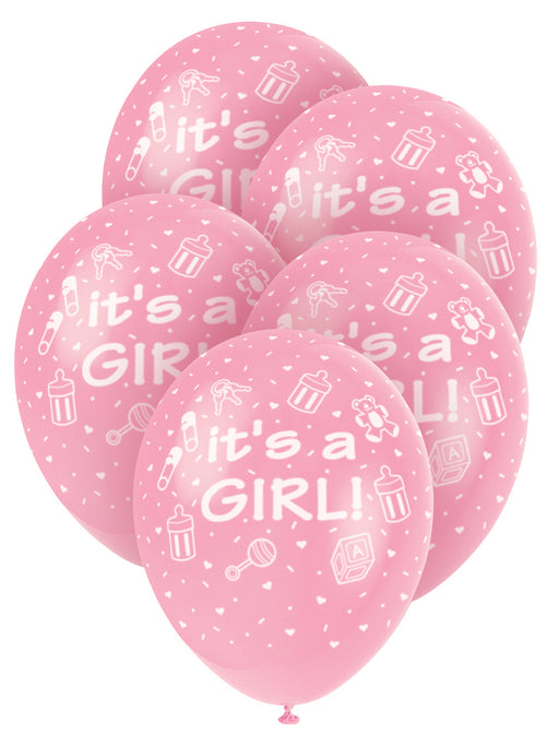 It's A Girl Pink Balloons 5 Pack