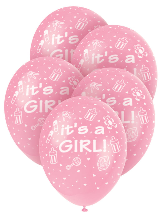 It's A Girl Pink Balloons 5 Pack - The Ultimate Party Shop