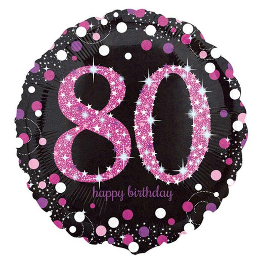 "18"" Foil Age 80 Black/Pink Dots Balloon"