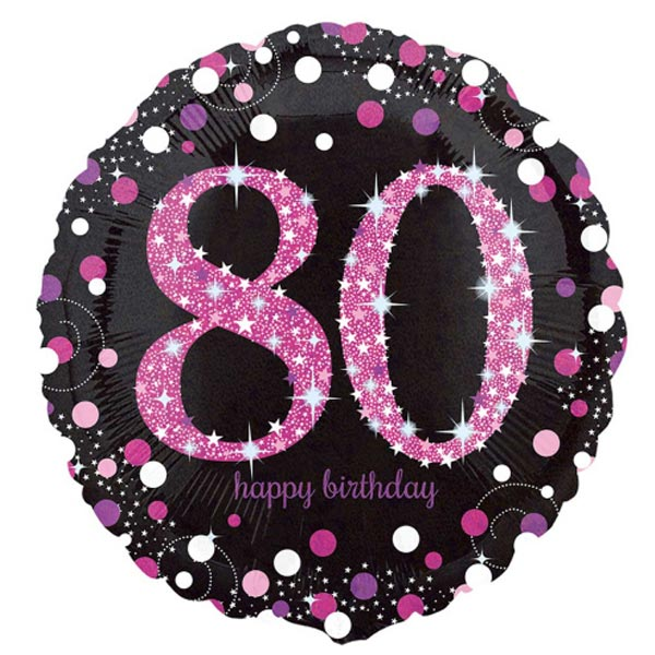"18"" Foil Age 80 Black/Pink Dots Balloon - The Ultimate Party Shop"
