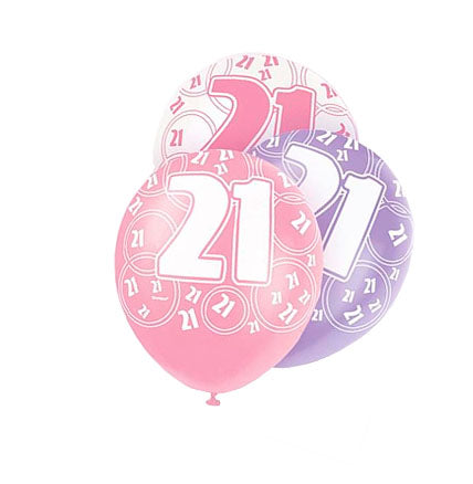 Age 21 Asst Birthday Balloons 6 Pack - The Ultimate Balloon & Party Shop