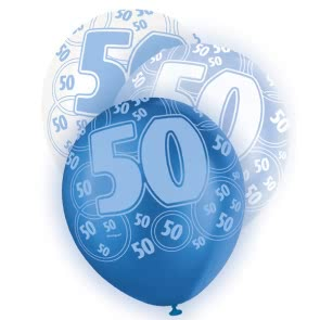 Age 50 Asst Birthday Balloons 6 Pack - The Ultimate Balloon & Party Shop