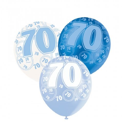 Age 70 Asst Birthday Balloons 6 Pack
