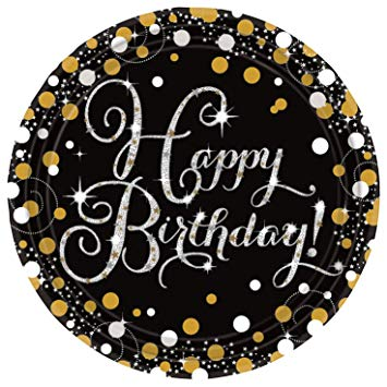 Round Happy Birthday Plates - Black & Gold - The Ultimate Balloon & Party Shop