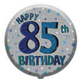 "18"" Foil Age 85 Blue Birthday Balloon - The Ultimate Balloon & Party Shop"