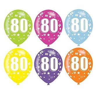 Age 80 Asst Birthday Balloons 6 Pack