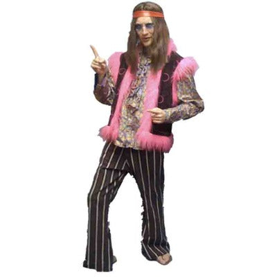 1960s/1970s Hippy Dude Hire Costume - Brown - The Ultimate Party Shop