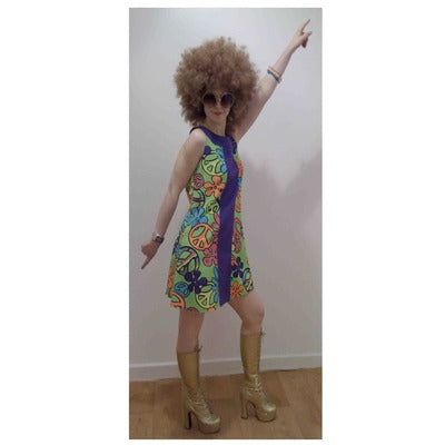 1960s/1970s Dress Hire Costume - Green & Purple CND - The Ultimate Party Shop