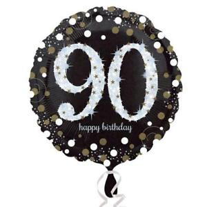 "18"" Foil Age 90 Black/Gold Dots Balloon - The Ultimate Party Shop"