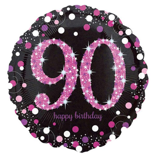 "18"" Foil Age 90 Black/Pink Dots Balloon"