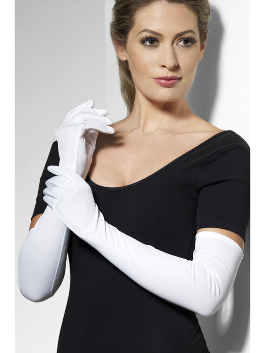 Long Evening Style Gloves - White - The Ultimate Party Shop