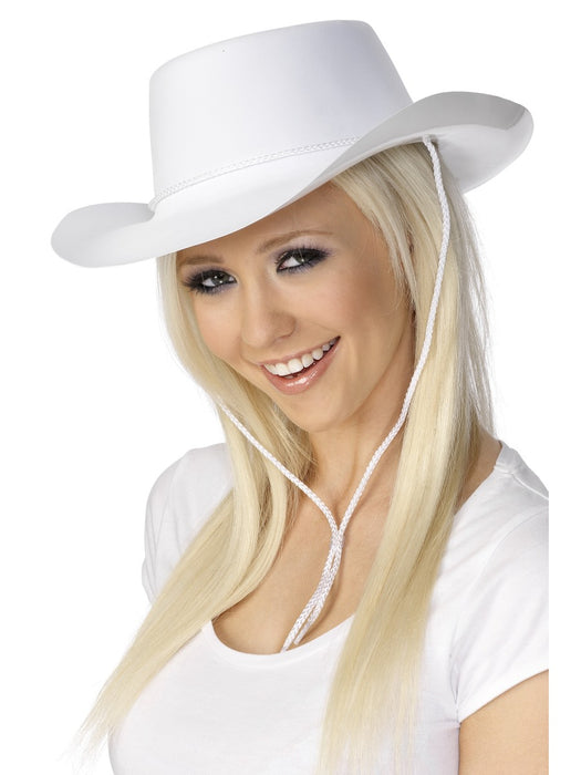Cowboy White Flocked Hat - The Ultimate Party Shop