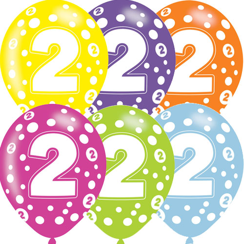Age 2 Asst Birthday Balloons 6 Pack - The Ultimate Party Shop