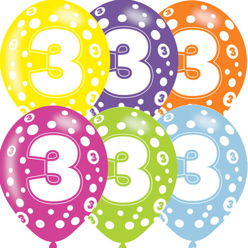 Age 3 Asst Birthday Balloons 6 Pack